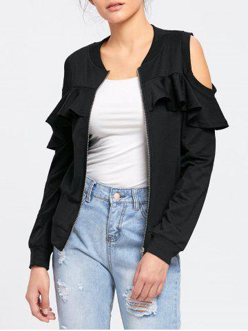 Shops Flounced Cold Shoulder Jacket