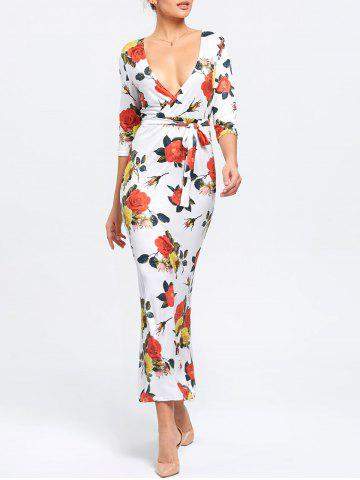 Outfit Floral Plunging Neck Mermaid Dress - M WHITE Mobile