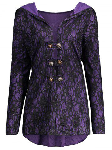 Hot Lace Hooded Plus Size Lace-up Coat - 5XL BLACK AND PURPLE Mobile