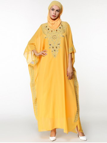 Ankle Length Batwing Sleeve Chiffon Arabic Dress