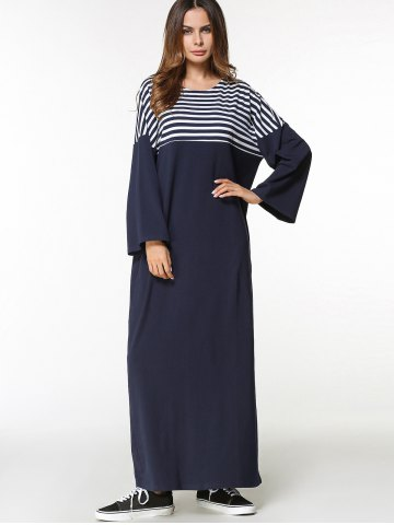 Striped Panel Batwing Sleeve Long Arabic Dress