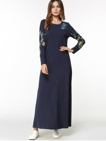 Floral Embroidered Maxi Arabic Dress