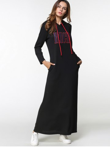 Shop Drawstring Letter Embroidered Maxi Hoodie Dress