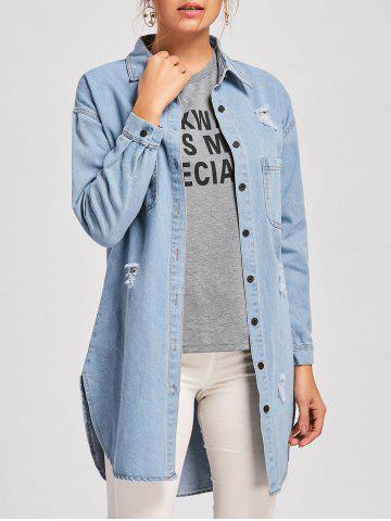 Cheap Ripped Denim Mini Shirt Dress