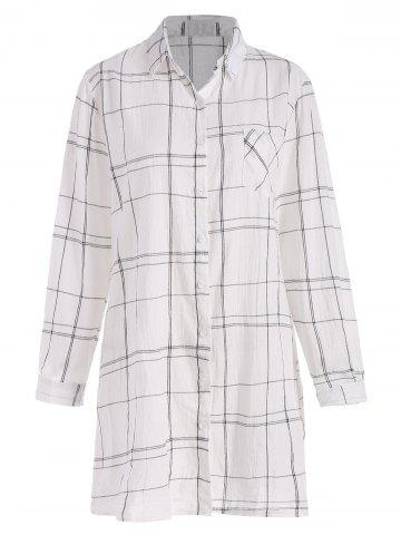 Best Plaid Pocket Longline Plus Size Shirt