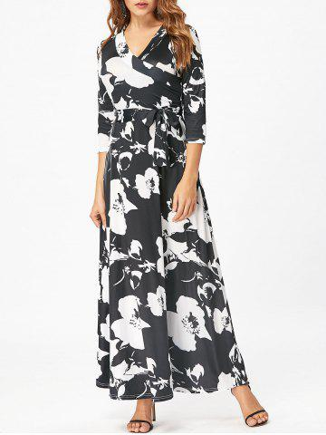 Discount Surplice Belted Floral Print Maxi Dress