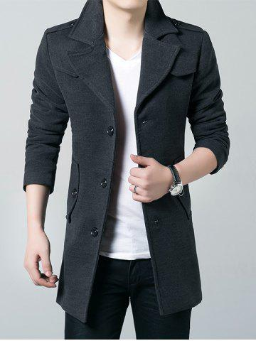 Sale Epaulet Single Breasted Lapel Wool Blend Coat