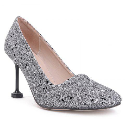 Outfit Square Toe Strange Heel Sequined Pumps