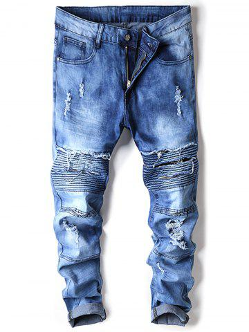 Outfit Accordion Pleat Distressed Biker Jeans