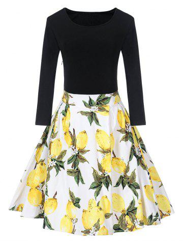 Trendy Vintage Lemon Print Skater Fit and Flare Dress
