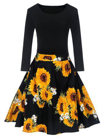 Unique Vintage Sunflower Print Fit and Flare Skater Dress