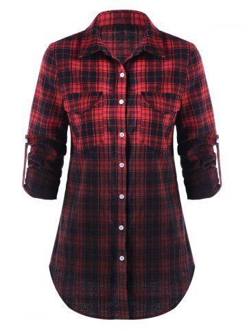 Affordable Flap Pockets Ombre Checked Shirt
