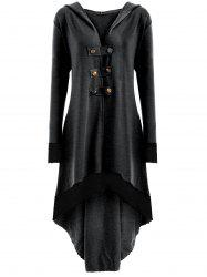 High Low Hooded Plus Size Lace-up Coat - Deep Gray - 5xl