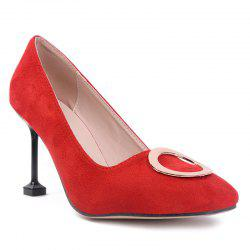 Suede Square Toe Grommet Pumps - RED 39