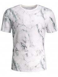 Short Sleeve 3D Marbling Print T-shirt - COLORMIX L