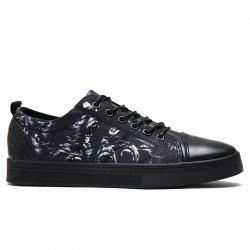 Print Low Top Tie Up Skate Shoes - BLUE AND BLACK 43