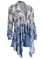 Music Note Butterfly Plus Size Ombre Cardigan - Blue And White - 2xl