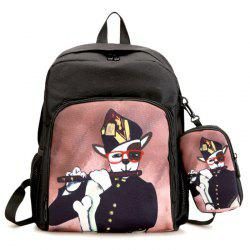 Side Pockets Hand Painting 2 Pieces Backpack Set - BLACK