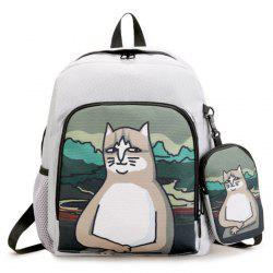 Side Pockets Hand Painting 2 Pieces Backpack Set - GRAY