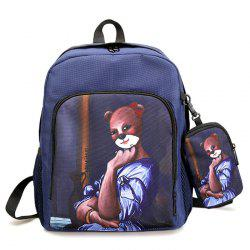 Side Pockets Hand Painting 2 Pieces Backpack Set - BLUE