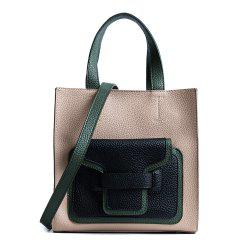 Color Block Faux Leather Handbag - KHAKI