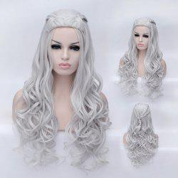 Longue traînée ondulée Synthetic Game of Thrones Daenerys Targaryen Cosplay Wig - Blanc Argent