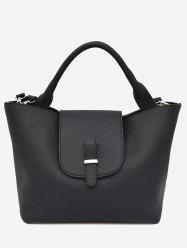 Faux Leather Top Handle Handbag -