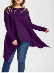 Plus Size Ripped Crescent Hem Tunic Top - Purple - 5xl