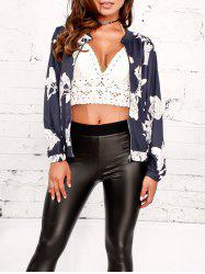 Zip Up Flower Print Baseball Jacket -