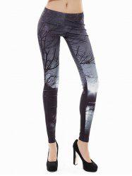 3D Print Branches Halloween Leggings - Black - Xl