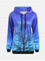 Life Tree Print Drop Shoulder Drawstring Hoodie - Blue - 2xl