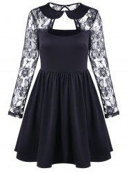 Vintage Cut Out Lace Sleeve A Line Dress - BLACK M