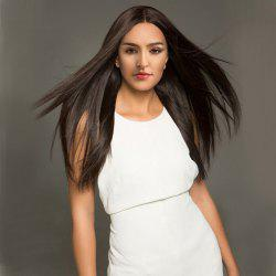 Long Middle Part Straight Heat Resistant Synthetic Wig - NATURE BROWN 6/8# 24INCH