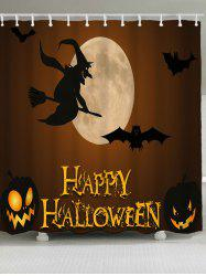 Halloween Witch Bat Pumpkin Lamp Bath Curtain -