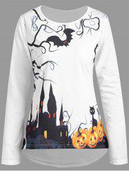Plus Size Halloween Pumpkin Castle High Low Tee - WHITE 2XL