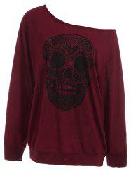 Plus Size Skull Skew Collar Sweatshirt - Wine Red - 3xl