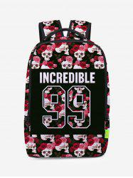 Skull Canvas Flower Backpack -