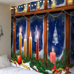 Decorative Window Christmas Candles Pattern Tapestry - Colorful - W79 Inch * L71 Inch