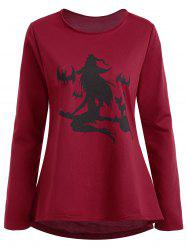 Plus Size High Low Halloween Witch Print Tee - Wine Red - 5xl