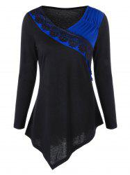 Two Tone Lace Trim Asymmetrical Top - Blue - Xl