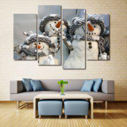 Christmas Snowmen Print Unframed Split Canvas Paintings -