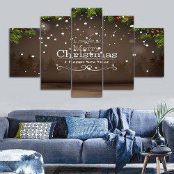 Merry Christmas Print Unframed Split Canvas Paintings - Brown - 30*40cm*2pcs And 30*60cm*2pcs And 30*80cm*1pcs