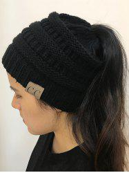 Open Top Mixcolour Knitted Hat - Black