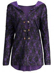 Lace Hooded Plus Size Lace-up Coat - Black And Purple - 5xl