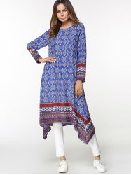 Tribal Print Asymmetrical Midi Arabic Dress -