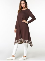Tribal Embroidered Asymmetrical Midi Arabic Dress -