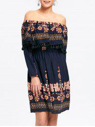 Floral Tassel Off The Shoulder Dress -