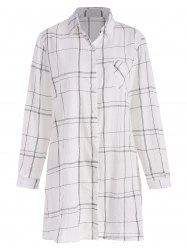 Plaid Pocket Longline Plus Size Shirt -