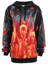 Plus Size Pocket Halloween Skeleton Fire Hoodie -