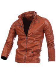 Zip Up Veste Motard En Cuir - Brun XL